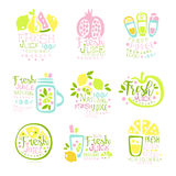 Natural fresh juice product set of logo templates hand drawn colorful vector Illustrations. For menu, restaurant, cocktail bar, summer refreshment Royalty Free Stock Photo