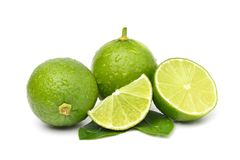 Natural fresh lime with water drops stock images