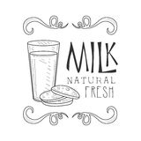 Natural Fresh Milk Product Promo Sign In Sketch Style With Bottle And Cookies, Design Label Black And White Template Stock Image