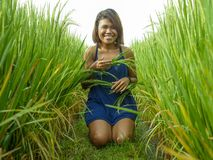 Natural and fresh portrait of young happy and exotic islander Asian girl from Indonesia smiling cheerful and excited posing in. Green field playing with rice royalty free stock image