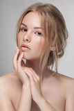 Natural fresh pure beauty portrait closeup of a young attractive model. Natural fresh pure beauty portrait closeup of a young attractive model woman posing in Royalty Free Stock Photo