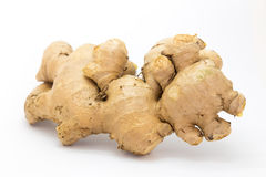 Natural fresh raw ginger on white. Background, Isolated Royalty Free Stock Images