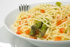 Natural fresh spaghetti tomato sauce and asparagus Stock Photography