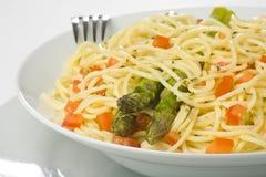 Natural fresh spaghetti tomato sauce and asparagus Stock Photography