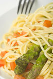 Natural fresh spaghetti tomato sauce and asparagus Royalty Free Stock Photography