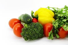 Natural fresh vegetables with herbs for cooking royalty free stock image