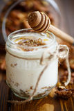 Natural fresh yogurt with nuts and honey stock photos
