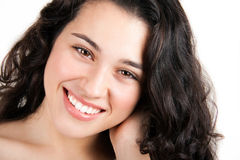 Natural fresh young beauty. Portrait of young brunette woman with fresh skin and beautiful smile Royalty Free Stock Image
