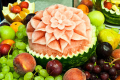 Natural fruits decoration. Watermelon decorated  Stock Images