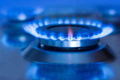 Natural gas. Blue flames of natural gas burning from a gas stove royalty free stock image
