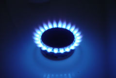 Natural Gas. A photo of a gas burner from a stove Royalty Free Stock Photo