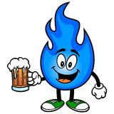 Natural Gas with Beer. A vector illustration of a natural gas mascot Stock Photography