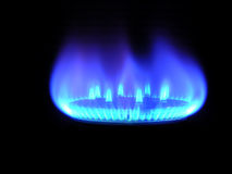 Natural gas, bringing warmly on a black Royalty Free Stock Image