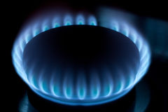 Natural gas burner blue flames Royalty Free Stock Photo