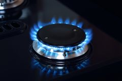 Natural gas burner flame on stove Royalty Free Stock Images
