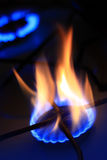 Natural gas burning. Natural gas burning in kitchen royalty free stock photography
