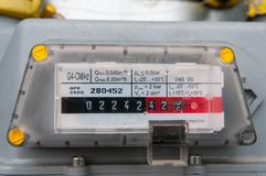 Natural gas consumption meter close up. Shot on natural light Royalty Free Stock Images