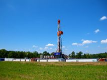 Natural Gas Drilling Worksite. This picture shows a Marcellus Shale natural gas fracking drill worksite in northeast Pennsylvania stock photos