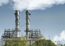 Natural gas factory. With blue sky and steam stock image