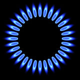 Natural gas flame. gas stove burner. Royalty Free Stock Photos