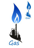 Natural gas flame and industrial factory Royalty Free Stock Images