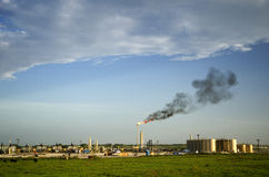 Natural Gas Flaring. Flaring of natural gas from petroleum processing facility Stock Photography
