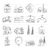 Natural gas fuel and energy industry icons Royalty Free Stock Image