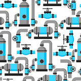 Natural gas heat exchanger, control valves and storage. Industrial seamless pattern.  Royalty Free Stock Image