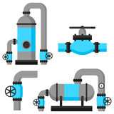 Natural gas heat exchanger, control valves and storage. Set of equipment Royalty Free Stock Photography