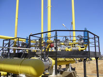 Natural Gas Industry. Reservoir and pipes Royalty Free Stock Photos