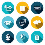 Natural gas industry flat icon set Royalty Free Stock Photos