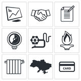 Natural gas industry icon collection Stock Image