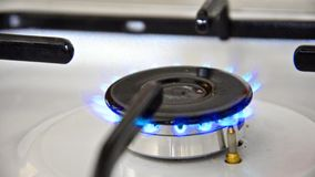 Natural gas inflammation in stove burner Royalty Free Stock Photo