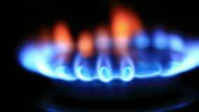 Natural gas inflammation in stove burner stock video footage