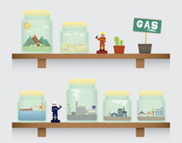 Natural gas in jar. On the shelve Royalty Free Stock Photography
