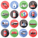 Natural Gas Long Shadow Icons Set. With storage transportation manufactuting pump cylinder truck flame  vector illustration Stock Photos