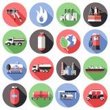 Natural Gas Long Shadow Icons Set Stock Photos
