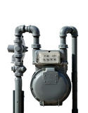 Natural Gas Meter. Gray natural residential natural gas meter on white background Stock Images