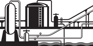 Natural gas and oil hub on pipeline. Vector illustration Stock Image