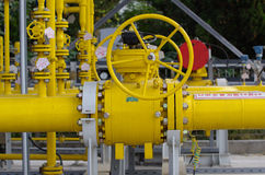Natural gas pipelines and valves Royalty Free Stock Images