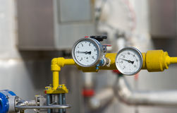Natural gas plant. Details in natural gas production industry stock photo