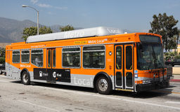 Natural Gas Powered Metro Local Bus in Pasadena. PASADENA, CA - JUNE 29:  Metro Local bus 487 travels along Sierra Madre Boulevard near the Gold Line station on Royalty Free Stock Photos