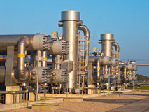 Natural gas processing site. During sunset Stock Image