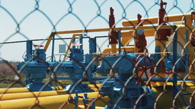 Natural gas processing station. Oil industry. industry. Fuel fabrication. Gas pipes with pressure valves and manometers stock footage