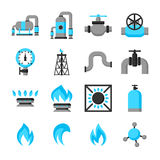 Natural gas production, injection and storage. Set of objects Stock Photo