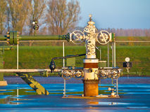 Natural gas production wellhead Stock Images