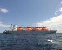 Natural Gas Ship. Cargo ship transporting liquified natural gas Stock Photos