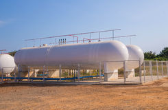 Natural Gas storage tanks in industrial plant Stock Photos