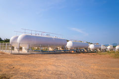 Natural Gas storage tanks in industrial plant Royalty Free Stock Photography