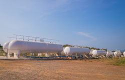 Natural Gas storage tanks in industrial plant Royalty Free Stock Photos
